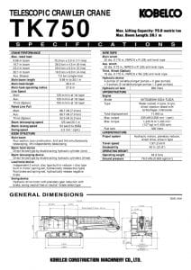 thumbnail of Kobelco TK750 Specifications Metric
